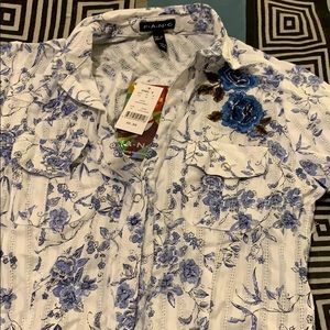 Flowered button up blouse